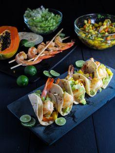 Mini Rum-Glazed Shrimp Tacos with Boozy Tropical Salsa