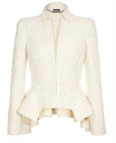 Alexander Mcqueen White Silkcotton Jacquard Peplum Jacket