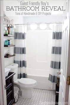 Awesome makeover! Nautical Guest Friendly Boys Bathroom Makeover Reveal - Southern Revivals