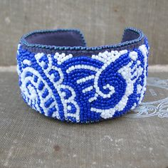 Blue Paisley Cuff, Bead Embroidery, Mehndi Inspired