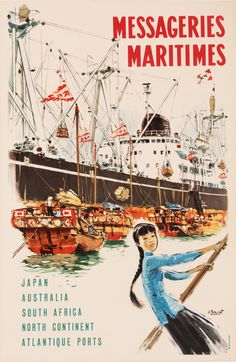 Messageries Maritimes Japan Australia South Africa North Continent Atlantique Ports by Brenet, A.