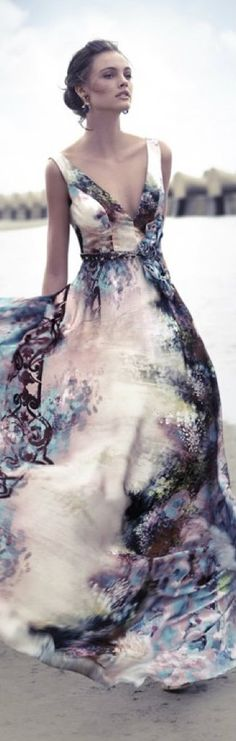 Carla Ruiz ~ Summer Flared Maxi Dress, Multi 2015