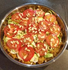 """This was a """"what am I going to have"""" type of dish.  Mashed sweet potato topped with Brussels sprouts, tomatoes and pinenuts and popped under grill to char top. Not too bad as a side dish.  #goveganbehappy #healthylifestye"""
