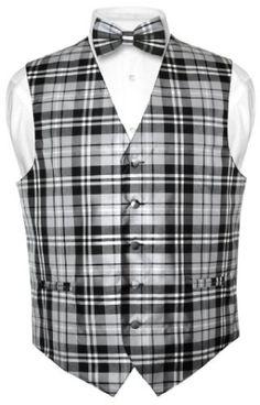 Men's Plaid Design Dress Vest NeckTie Black Gray White Neck Tie Set for Suit or Tuxedo by allforgents