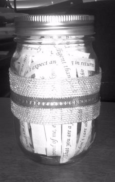 Valentines day. Mason Jar filled with 100 reasons why 'I love you'