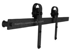 """This wrought iron overhead flat track rolling door hardware kit includes all necessary components to hang 1 door. This kit is a designer distressed wheel carrier design with a 5' overhead flat track with a 1 3/8"""" standoff in brown rust, dark bronze, flat black or red rust powder coat finish."""