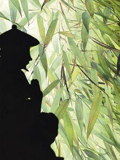 Friedvoll - Innere Einkehr. Unter Bambusblättern findet sich ein Platz der Stille. Malerische Komposition in #Aquarell im Collagenstil. #Bambus #bamboo #Gebet #silhouette #Asien #Harmonie #Meditation #Entspannung #Religion #asiatisch #Collage #Scherenschnitt #Waelder #fernost