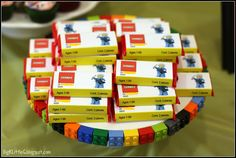 great lego birthday party ideas - love this platter idea with kit kat favors
