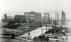 This photo was taken on June 6, 1889 on the west side of First Avenue between Yesler Way and Columbia Street., right after the fire.