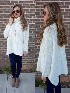 Cream turtleneck sweater #swoonboutique