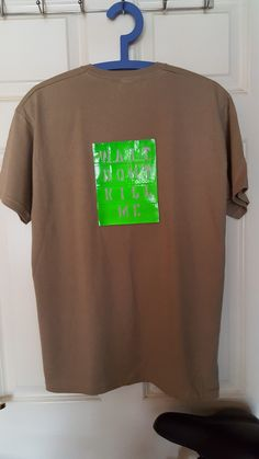 Medium (M) Size Khaki short sleeved T-shirt with a Green Hivis Reflective  sticker affixed to the back. The Hivis Reflective sticker is 14cm x 18cm  with ... c7e71cba00a4