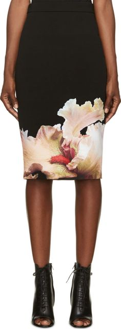 Givenchy Black Orchid Pencil Skirt