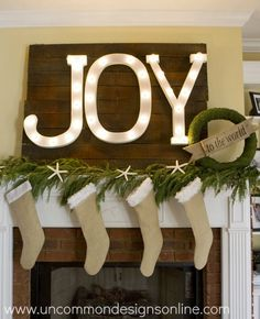Christmas is around the corner and it's time to deck the halls and decorate our mantels. I'm sharing 20 of the most beautiful Christmas mantels, from marques to nativity scenes, you'll love them all! Beach Christmas, Coastal Christmas, Christmas Love, All Things Christmas, Beautiful Christmas, Winter Christmas, Christmas Ideas, Christmas Letters, Burlap Christmas