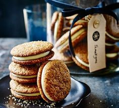 Sandwich ginger biscuits with a creamy zesty filling to make these gluten-free teatime treats that are aromatic with wintry spices - cloves nutmeg and cardamom Bbc Good Food Recipes, Sweet Recipes, Baking Recipes, Cookie Recipes, Dinner Recipes, Biscuit Cookies, Sandwich Cookies, Biscuit Recipe, Tea Cakes