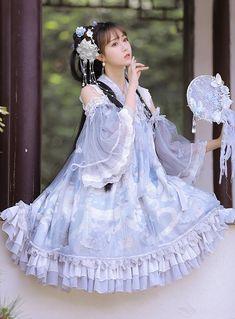 The Nine Songs -The Evening Butterfly- Qi Lolita JSK Version I Kawaii Fashion, Lolita Fashion, Cute Fashion, Fashion Outfits, Emo Fashion, Gothic Fashion, Gothic Corset, Gothic Lolita, Lolita Style
