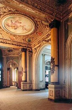 Sakakini Palace in Cairo, Egypt | Built in 1897 | View of the ball room on the first floor. Housed within its walls are 50 rooms and halls with over 400 windows and doors, and a decor boasting over 300 busts and statues.