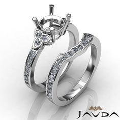 Diamond Engagement Semi Mount Ring Bridal Set 14k Gold White Wedding Band 0 6ct | eBay