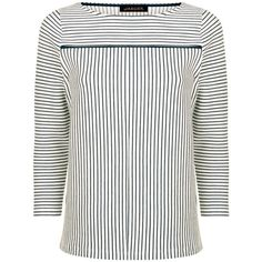 Jaeger Tipped Breton Stripe Top, Navy/Ivory ($73) ❤ liked on Polyvore featuring tops, jersey top, print top, breton stripe top, navy top and ivory top