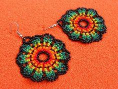Huichol Beaded Flower Earrings/ Huichol Jewelry/ Native