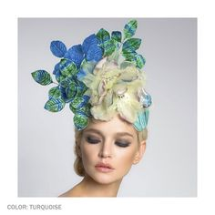 Magnolia Cocktail Hat by Arturo Rios (Turquoise)
