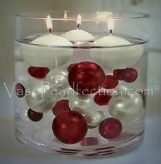 95 Red & White Pearls w/ Gems Accents-Jumbo/Assorted Sizes Vase Fillers for Decorating Centerpieces 6 Candles, Floating Candles, Candle Set, Lavender Candles, Simple Christmas, Christmas Home, Christmas Crafts, Christmas Ornaments, Winter Christmas