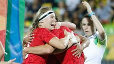 Karen Paquin celebrates against Great Britain at the Rio 2016 Olympic Games bronze medal game on August 8, 2016 (Mark Blinch/COC).