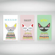 Cats Hebrew Print Cat Print Wall Decor Digital by shpirulina