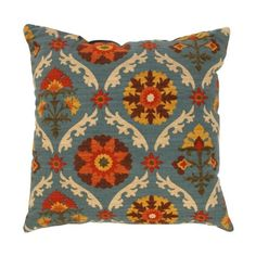 """Mayan Turquoise Blue Floral Medallion Cotton Throw Pillow 16.5"""" x…"""