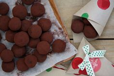 The joy of giving- Christmas Chocolate Truffles recipe at www. Christmas Truffles, Christmas Chocolate, Christmas Treats, Christmas Baking, Christmas Recipes, Christmas Time, Xmas, Dessert Ideas, Cake Ideas