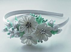 White Kanzashi Fabric Flower headband.White by AirinFlowers
