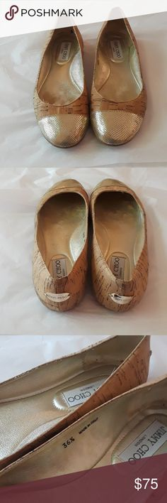 Jimmy Choo ballet flats 36.5 Jimmy Choo ballet flats size 36.5 made in Italy, used condition with signs of wear as you can see in the inside there are marks from it being used. Bottom of shoes are in used condition but overall good used condition shoes. Very comfortable flats, gorgeous quality Jimmy Choo. Look at photos before purchasing smoke-free home please know your size as questions is all sales are final happy poshing. Jimmy Choo Shoes Flats & Loafers