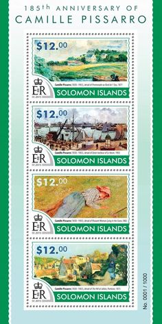 Post stamp Solomon Islands SLM 15319 a185th anniversary of Camille Pissarro (1830–1903. Detail of Promenade au Bord de l'Eau, 1877, detail of Outer harbor of Le Havre, 1903, detail of Peasant Woman Lying in the Grass, 1882, detail of the Hill at Jallais, Pontoise, 1875)