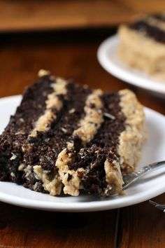 German Chocolate Cake recipe - a allergy friendly version that is gluten, dairy, and egg free. The frosting is a healthier twist, made from dates. | WorthCooking.net