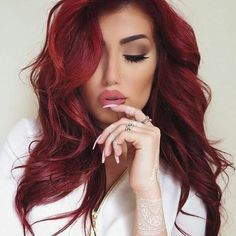33 Fabulous Spring & Summer Hair Colors for Women 2018 Hair Color For Women, Red Hair Color, Hair Colors, Summer Hairstyles, Pretty Hairstyles, Prom Hairstyles, Updo Hairstyle, Dark Red Hair, Corte Y Color