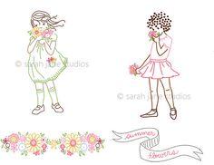 Embroidery Pattern PDF Summer Flowers by sarahjanestudios on Etsy