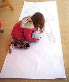 Body tracing- a bit CSI but very cool for the kids to see how big they are!