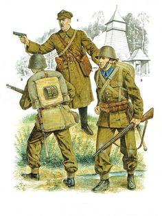 Kampania wrześniowa 1939. 1. Porucznik piechoty, 2 & 3. Szeregowi piechoty 1939. Rys. Richard Hook. https://www.facebook.com/wojskopolskie19391945/photos/a.376644045867274.1073741828.376641135867565/378619982336347/?type=1