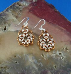 Silver Copper ChainMaille Earrings Japanese by TheChainmailleLady, $38.00