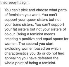 every person deserves to be supported and you're not supporting true equal rights if you pick and choose who gets support and who doesn't