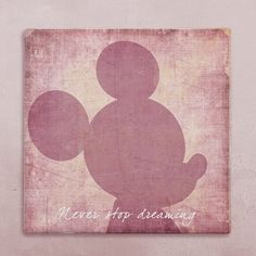 """Disney wall art canvas in vintage style mickey mouse """"never stop dreaming"""" for baby's room. Worldwide FREE SHIPPING with tracking number!"""