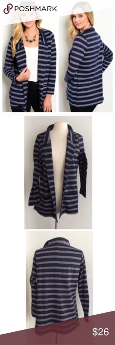 BLOWOUT! Navy striped blazer Navy striped blazer Materials- 60% polyester/ 37% cotton/ 3% spandex. This is a thick jacket. Two pockets on the front. There is no closure to this piece. Srt1gy50 NWT. Brand new with tags. Availability- M • 1 ⭐️This item is brand new with manufacturers tags, boutique tags, or in original packaging. 🚫NO TRADES 💲Fair offers will be accepted 💰Ask about bundle discounts Jackets & Coats Blazers