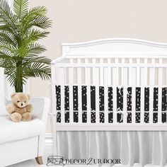 """Your dream boho, textured, and patterned-perfect nursery has arrived. We love this charcoal """"tile"""" inspired print in this nursery. Add fun plants (like snake plants, fiddle leaf fig, or (fake) cacti) for pops of green. This may be one of our favorite boho + modern inspired nursery looks yet. Baby Boy Bedding Sets, Custom Baby Bedding, Baby Nursery Bedding, Baby Cribs, Nursery Decor, Crib Bumper Set, Thing 1, Gender Neutral Baby, Fiddle Leaf"""