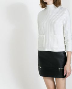 Image 2 of RIBBED SWEATER WITH HIGH COLLAR from Zara
