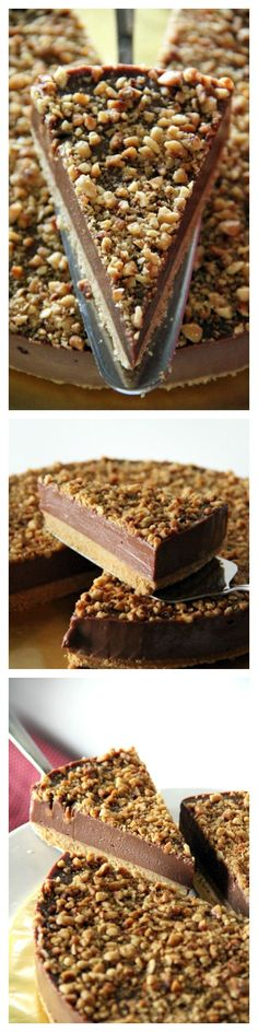 Sinfully rich Nutella Cheesecake with toasted chopped nuts!