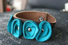 Leather flower bracelet by Vickislife on Etsy, $28.00