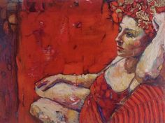 "Red Original Oil painting on Canvas  18""x24"" Woman in Red ""Rose"""