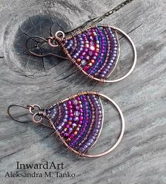 Wire wrapped copper Boho earrings unique artistic jewelry