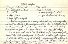 White Fudge Recipe – Handwritten