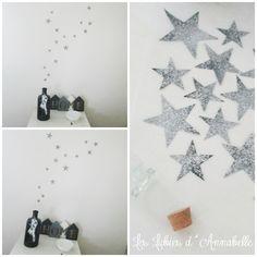 Stickers étoiles noires paillettes argent : Chambre d'enfant, de bébé par leslubiesdannabelle