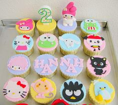 Sanrio character cupcakes - these care cute, but some of the characters will take a lot of work!